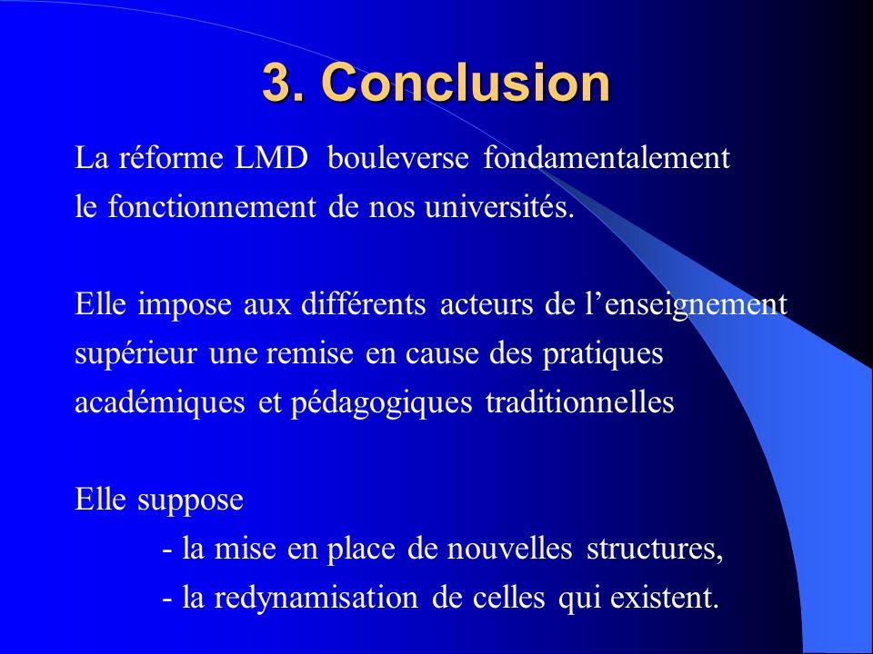 3. Conclusion La réforme LMD bouleverse fondamentalement