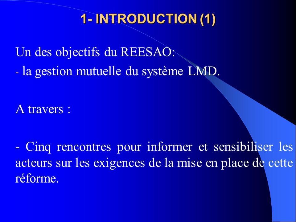 1- INTRODUCTION (1) Un des objectifs du REESAO: la gestion mutuelle du système LMD. A travers :