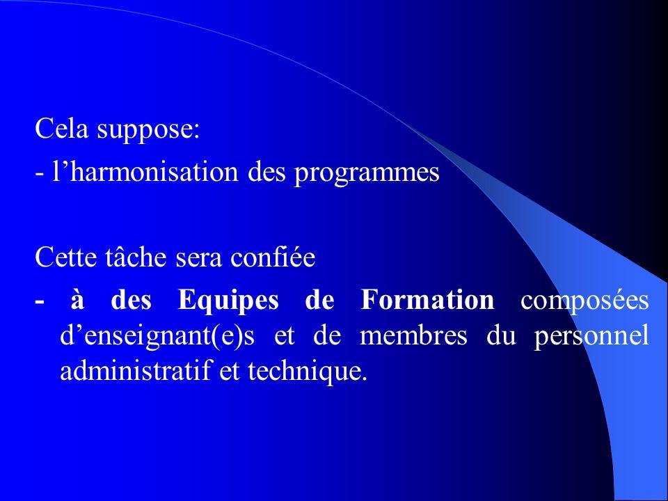 Cela suppose:- l'harmonisation des programmes. Cette tâche sera confiée.