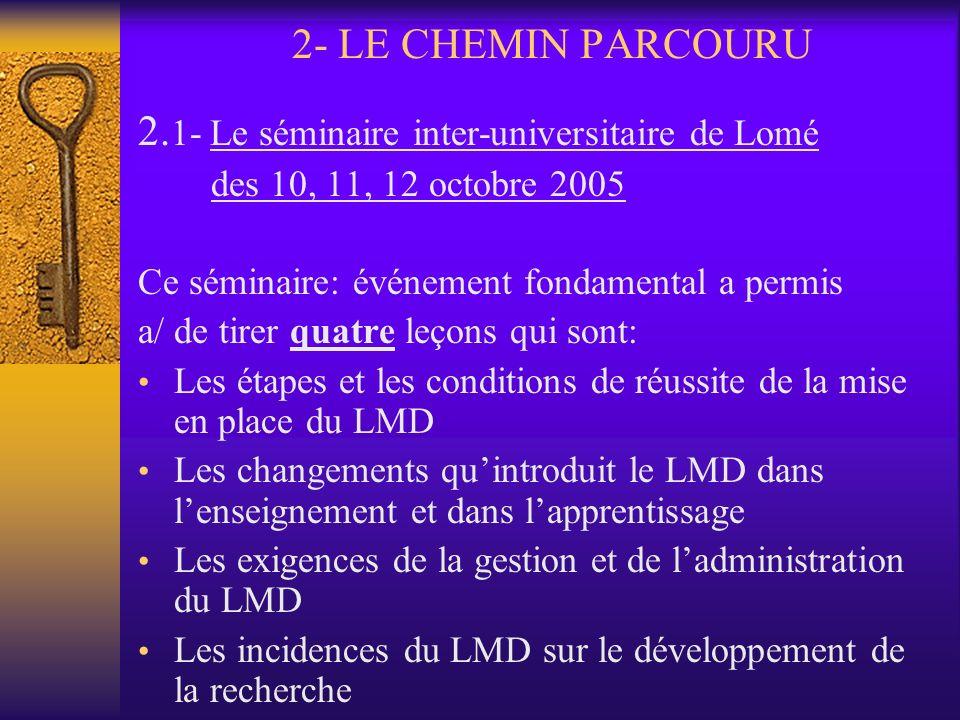 2.1- Le séminaire inter-universitaire de Lomé