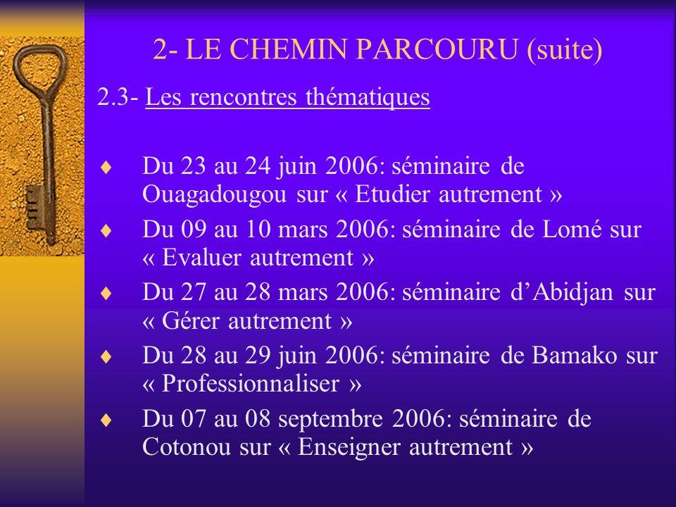 2- LE CHEMIN PARCOURU (suite)