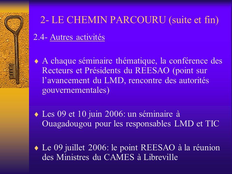 2- LE CHEMIN PARCOURU (suite et fin)