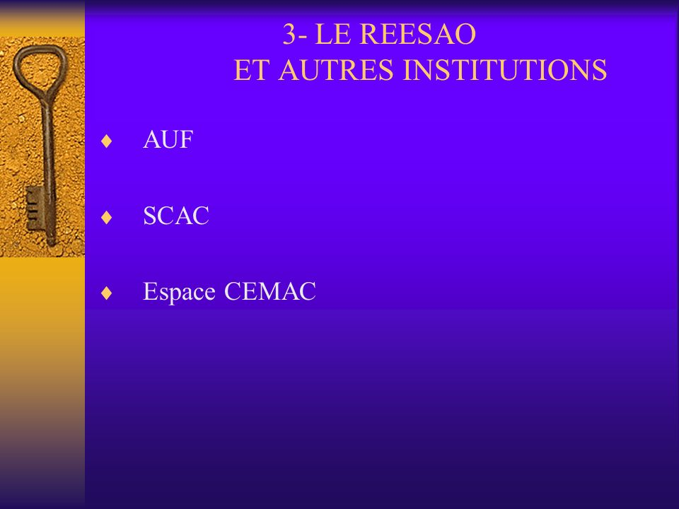 3- LE REESAO ET AUTRES INSTITUTIONS