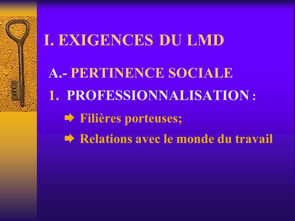 I. EXIGENCES DU LMD A.- PERTINENCE SOCIALE 1. PROFESSIONNALISATION :