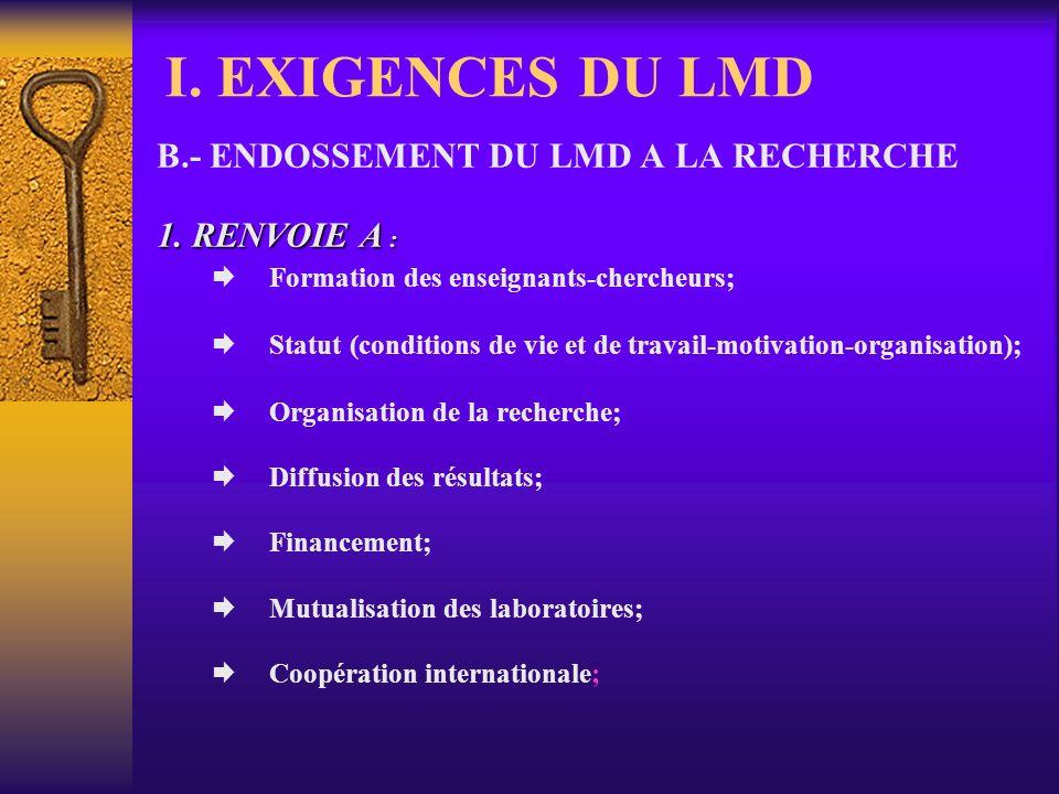 I. EXIGENCES DU LMD B.- ENDOSSEMENT DU LMD A LA RECHERCHE