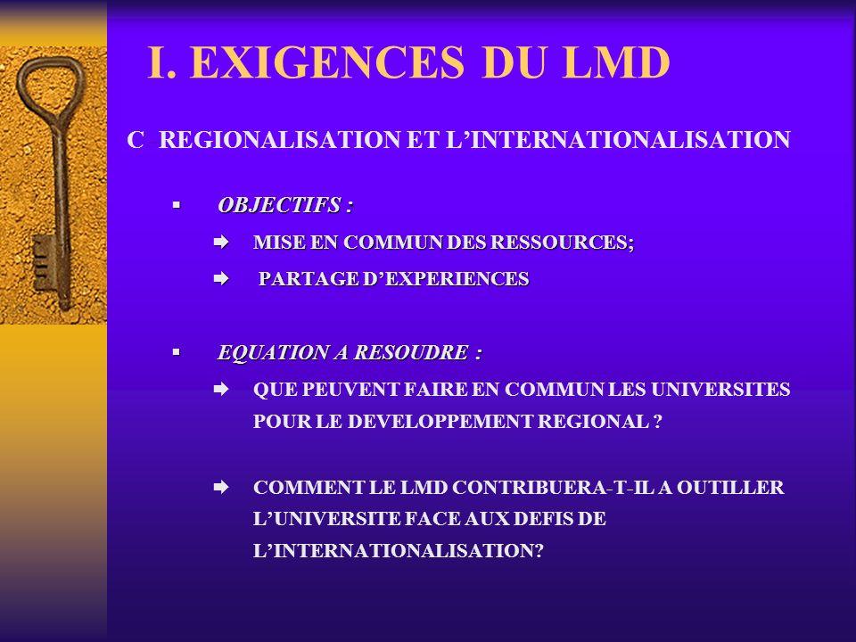 I. EXIGENCES DU LMD C.-REGIONALISATION ET L'INTERNATIONALISATION