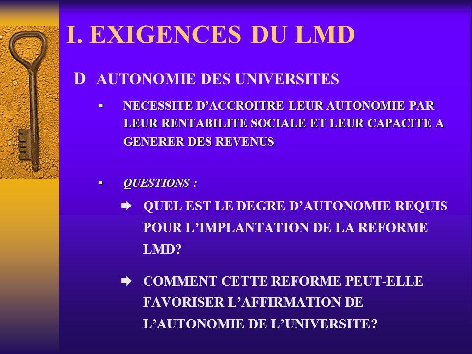 I. EXIGENCES DU LMD D.-AUTONOMIE DES UNIVERSITES