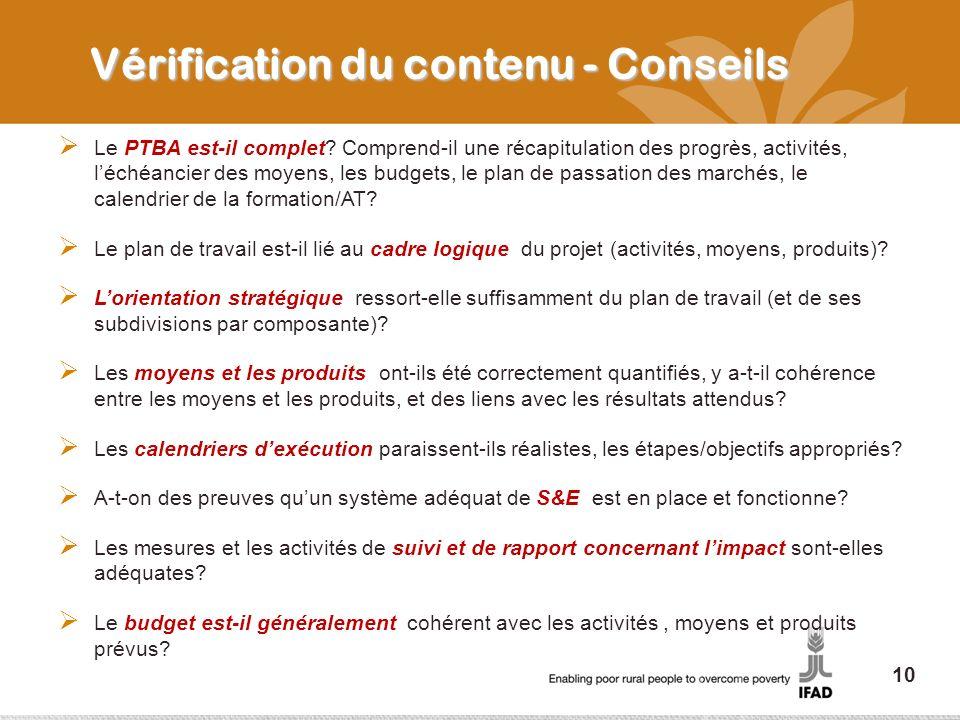 Vérification du contenu - Conseils