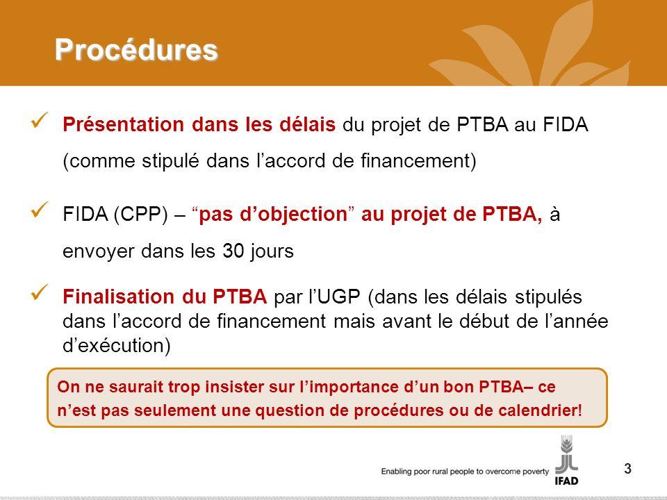 Procédures Présentation dans les délais du projet de PTBA au FIDA (comme stipulé dans l'accord de financement)