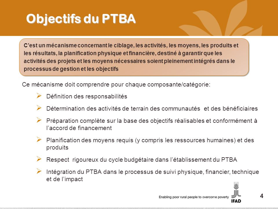 Objectifs du PTBA