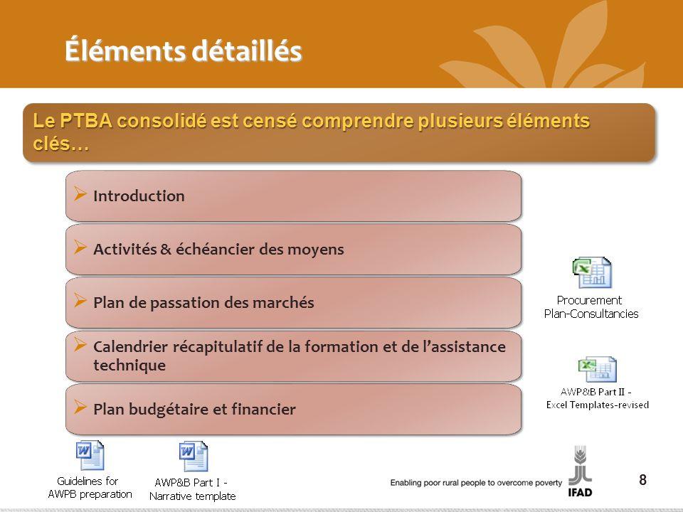 Éléments détaillés Le PTBA consolidé est censé comprendre plusieurs éléments clés… Introduction. Activités & échéancier des moyens.