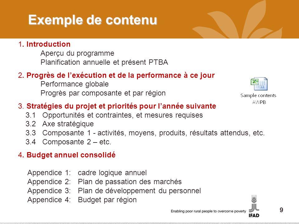 Exemple de contenu 1. Introduction Aperçu du programme