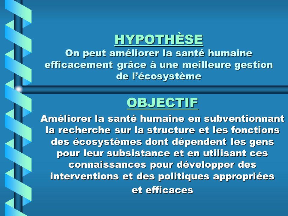 HYPOTHÈSE On peut améliorer la santé humaine efficacement grâce à une meilleure gestion de l'écosystème