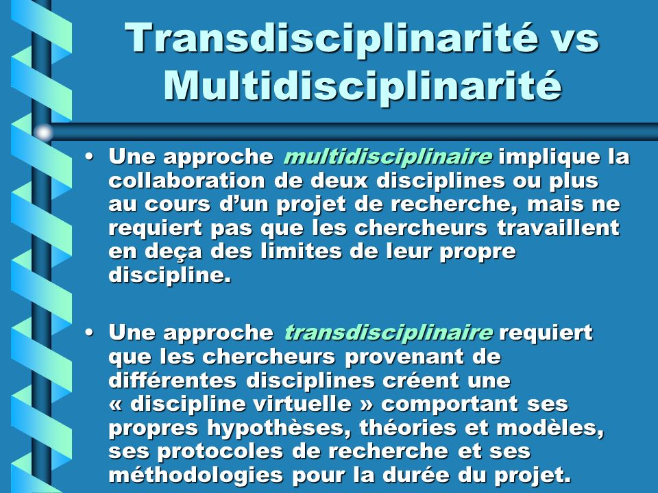 Transdisciplinarité vs Multidisciplinarité