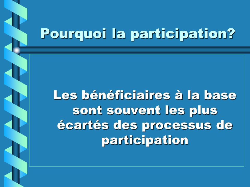 Pourquoi la participation