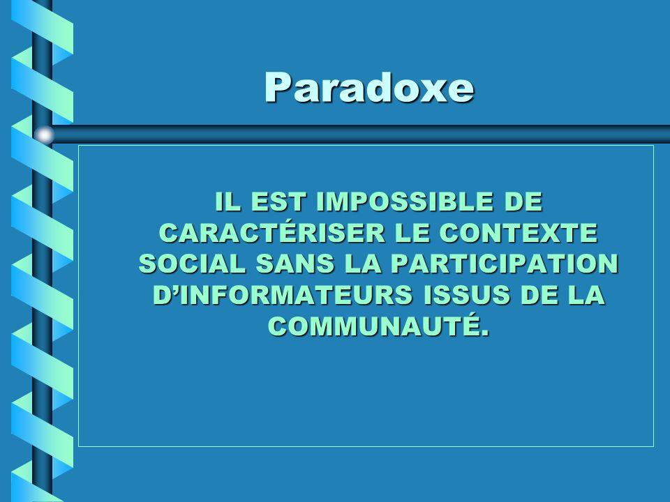 ParadoxeIL EST IMPOSSIBLE DE CARACTÉRISER LE CONTEXTE SOCIAL SANS LA PARTICIPATION D'INFORMATEURS ISSUS DE LA COMMUNAUTÉ.