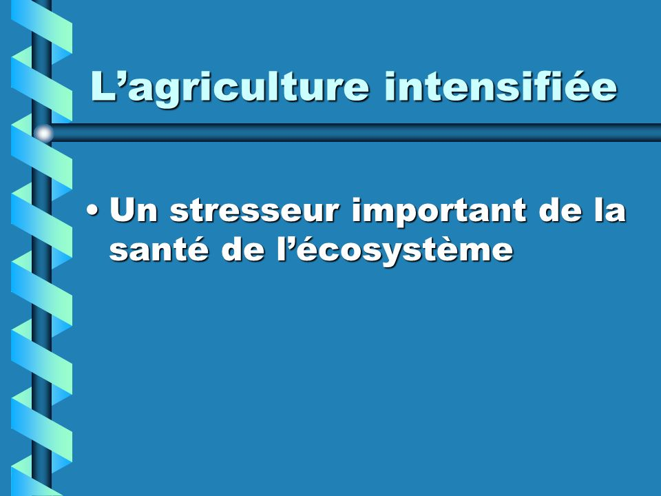 L'agriculture intensifiée