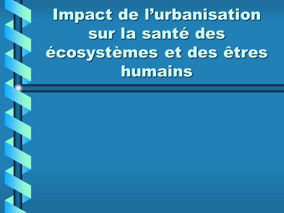 Impact de l'urbanisation sur la santé des écosystèmes et des êtres humains