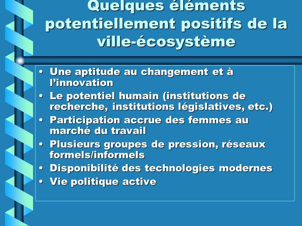Quelques éléments potentiellement positifs de la ville-écosystème