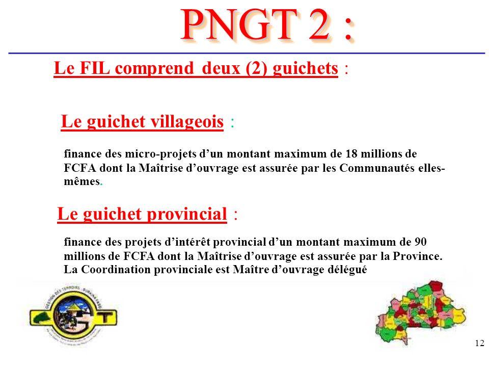 PNGT 2 : Le FIL comprend deux (2) guichets : Le guichet villageois :