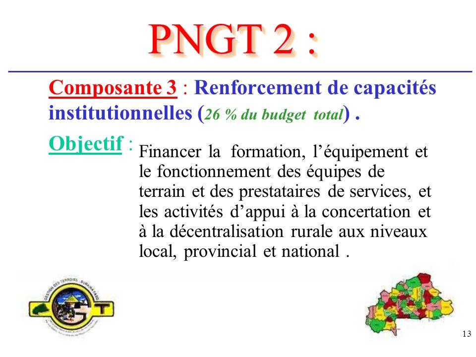 PNGT 2 : Composante 3 : Renforcement de capacités institutionnelles (26 % du budget total) . Objectif :
