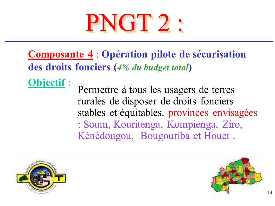 PNGT 2 : Composante 4 : Opération pilote de sécurisation des droits fonciers (4% du budget total) Objectif :