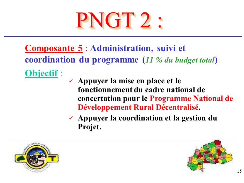 PNGT 2 : Composante 5 : Administration, suivi et coordination du programme (11 % du budget total) Objectif :