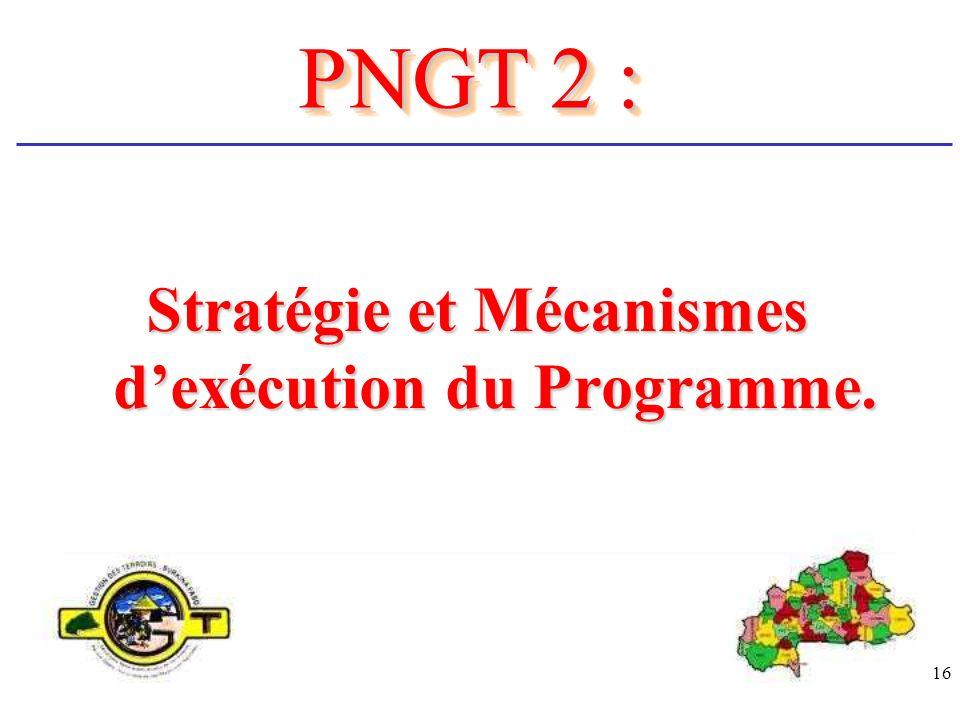 Stratégie et Mécanismes d'exécution du Programme.