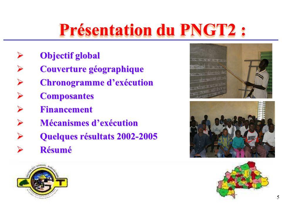 Présentation du PNGT2 : Objectif global Couverture géographique