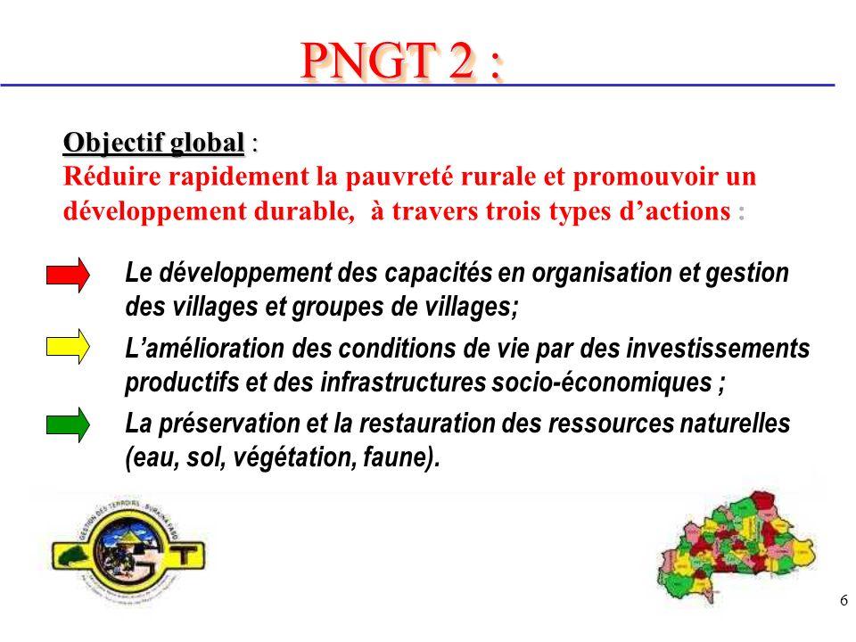 PNGT 2 : Objectif global : Réduire rapidement la pauvreté rurale et promouvoir un développement durable, à travers trois types d'actions :