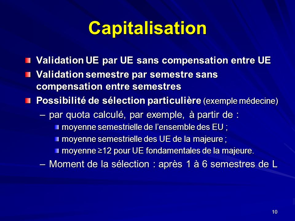 Capitalisation Validation UE par UE sans compensation entre UE