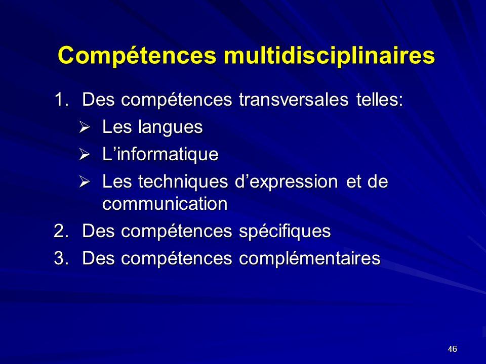 Compétences multidisciplinaires