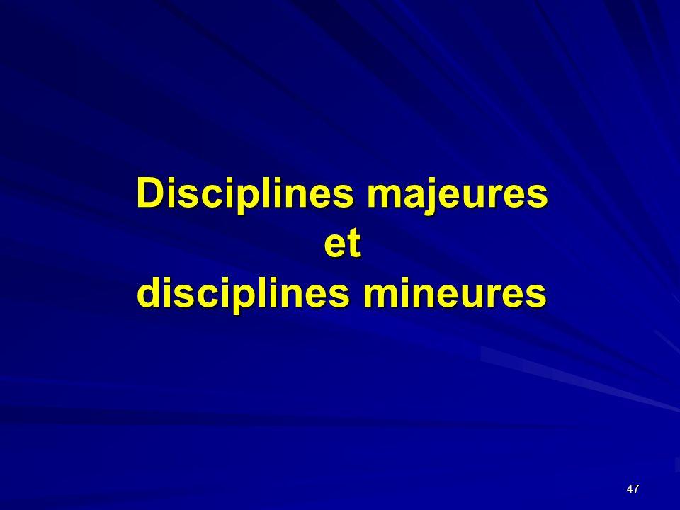 Disciplines majeures et disciplines mineures