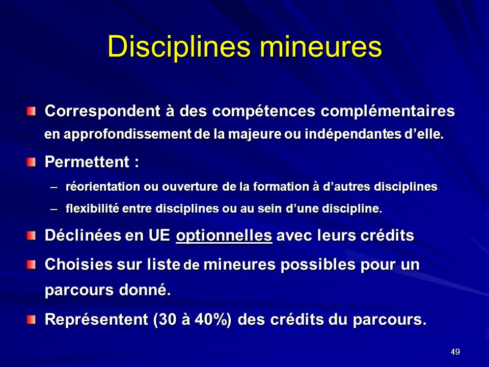 Disciplines mineures Correspondent à des compétences complémentaires en approfondissement de la majeure ou indépendantes d'elle.