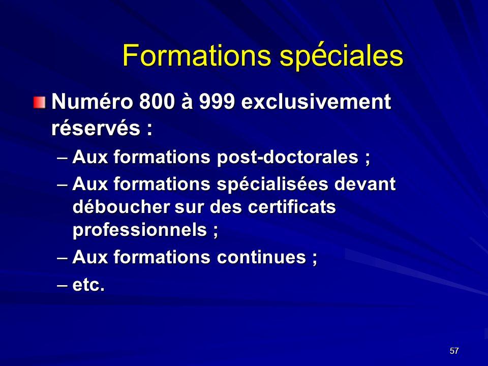Formations spéciales Numéro 800 à 999 exclusivement réservés :