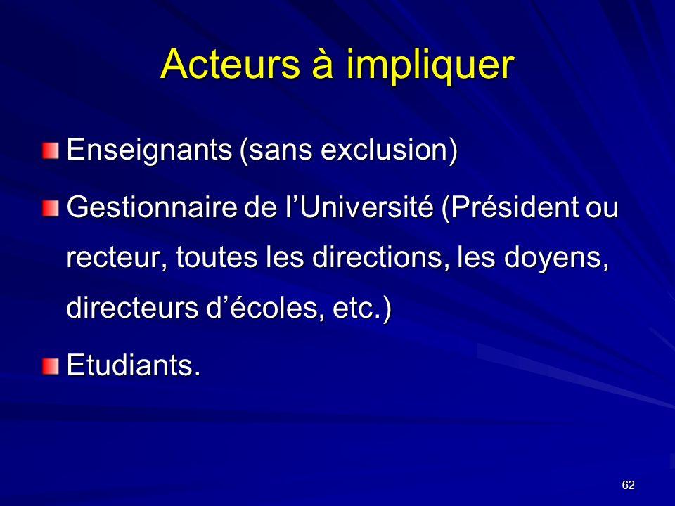 Acteurs à impliquer Enseignants (sans exclusion)