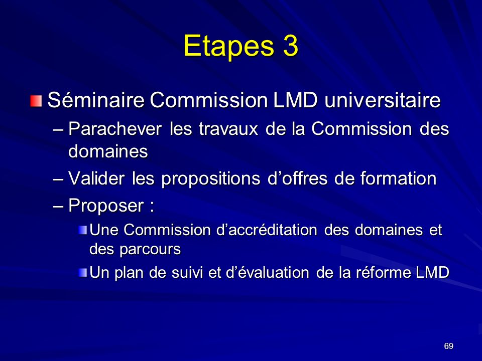 Etapes 3 Séminaire Commission LMD universitaire