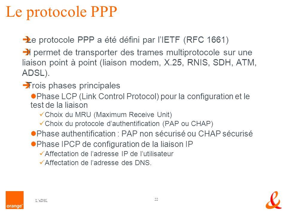 Le protocole PPP Le protocole PPP a été défini par l'IETF (RFC 1661)