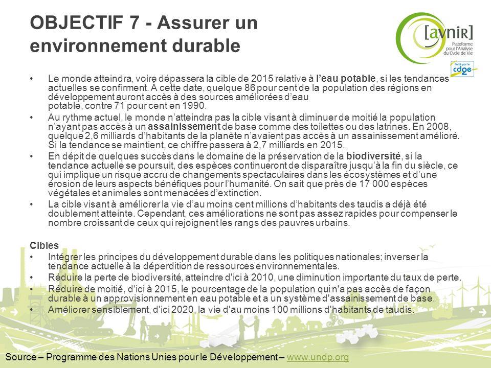 OBJECTIF 7 - Assurer un environnement durable