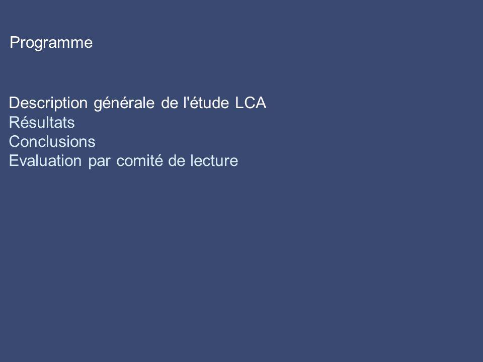 Description générale de l étude LCA Résultats Conclusions