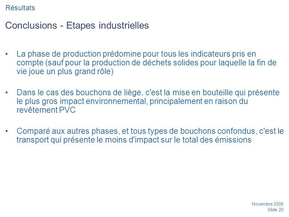 Conclusions - Etapes industrielles