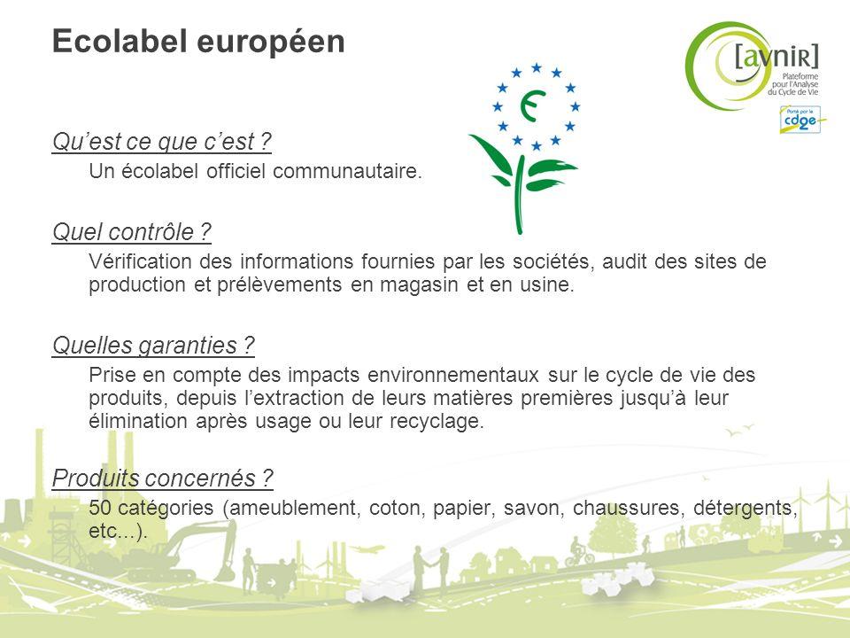 Ecolabel européen Qu'est ce que c'est Quel contrôle