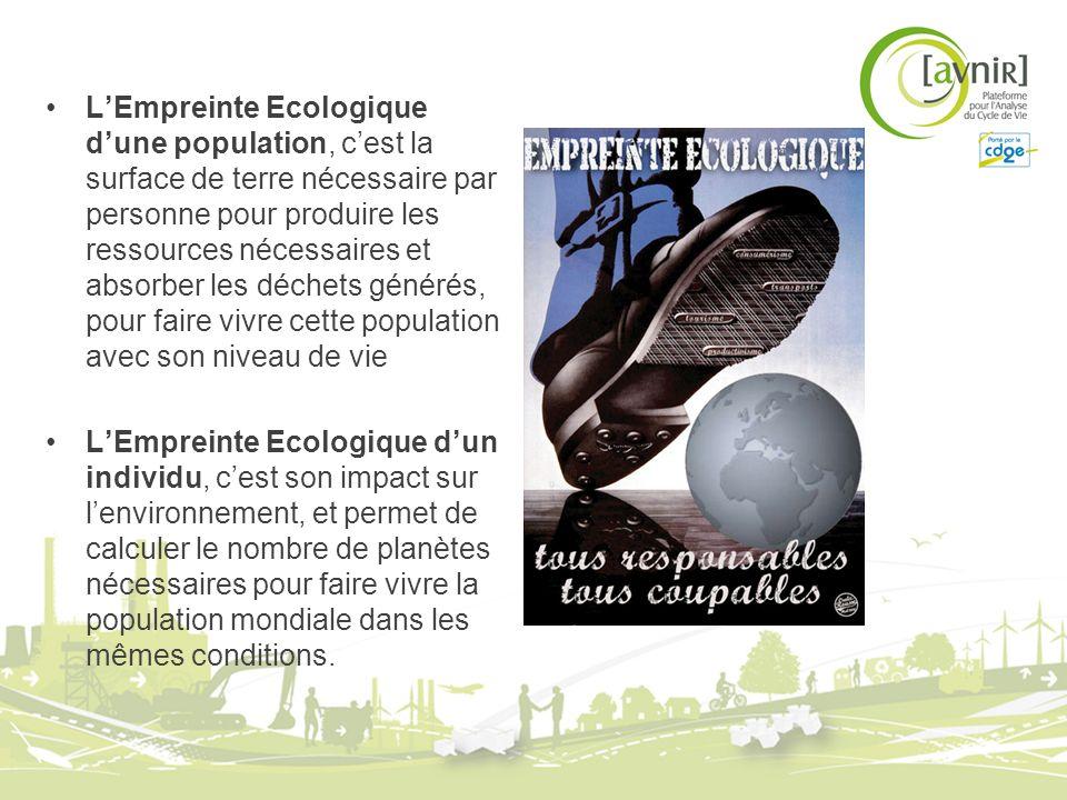 L'Empreinte Ecologique d'une population, c'est la surface de terre nécessaire par personne pour produire les ressources nécessaires et absorber les déchets générés, pour faire vivre cette population avec son niveau de vie