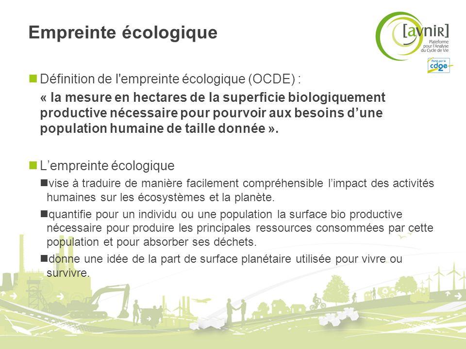 Empreinte écologique Définition de l empreinte écologique (OCDE) :