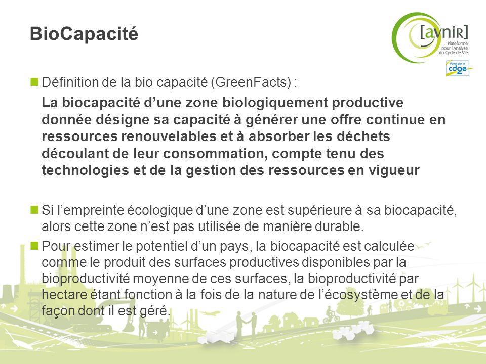 BioCapacité Définition de la bio capacité (GreenFacts) :