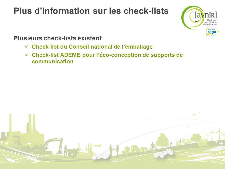 Plus d'information sur les check-lists