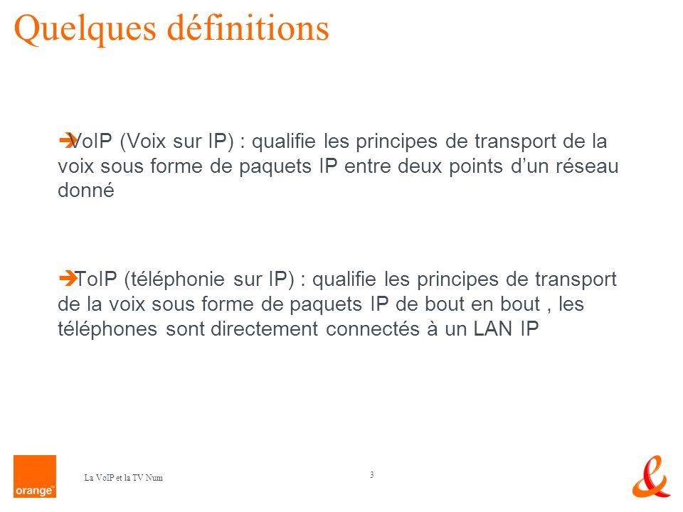Quelques définitions VoIP (Voix sur IP) : qualifie les principes de transport de la voix sous forme de paquets IP entre deux points d'un réseau donné.