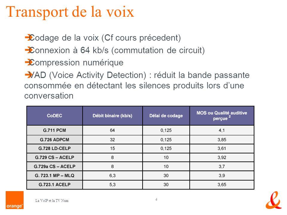 Transport de la voix Codage de la voix (Cf cours précedent)