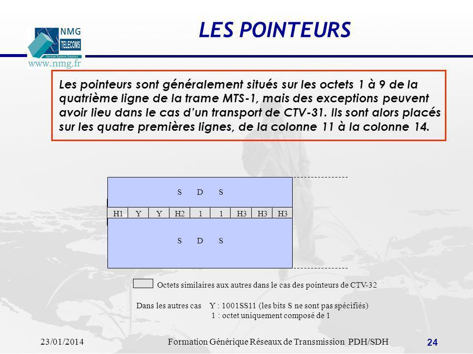 LES POINTEURS Les pointeurs sont généralement situés sur les octets 1 à 9 de la. quatrième ligne de la trame MTS-1, mais des exceptions peuvent.