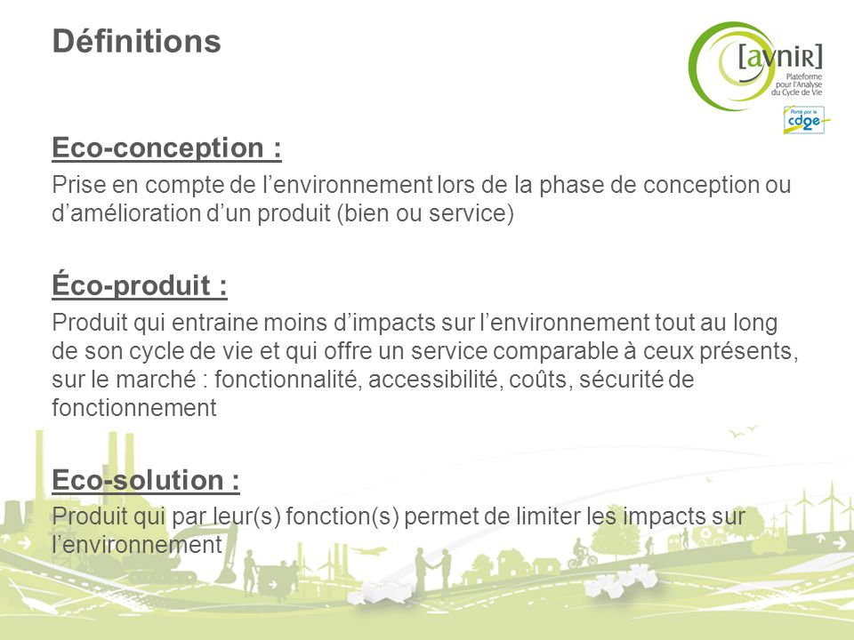 Définitions Eco-conception : Éco-produit : Eco-solution :